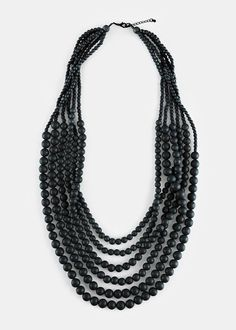 Multi-Strand Wooden Beaded Necklace