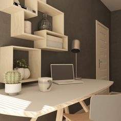 render of a modern home office Free P. Office Free, Home Office, Cool Woodworking Projects, Burke Decor, Diy Cabinets, Interiores Design, Interior Design Inspiration, Furniture Making, Home Goods