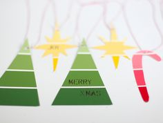 The next time you're at the hardware store, grab a few paint chips --then use them to make these adorable gift tags with your kids.