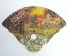 Vintage 1920s Fan Paper Tri Fold Hand Fan by VintageClothingDream, $10.00