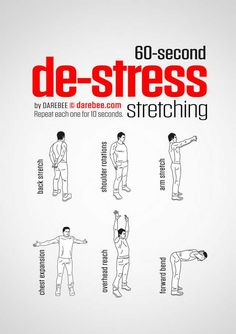 60 Sec De-Stress Stretching Workout Physical Fitness, Yoga Fitness, Health Fitness, Fitness Hacks, Gym Workout Tips, At Home Workouts, Easy Daily Workouts, Yoga Workouts, Fitness Workouts