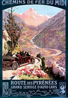 Vintage Poster of Route des Pyrénées 1900 Tourism poster travel - product images Pub Vintage, French Vintage, Vintage Safari, Tourism Poster, Travel Ads, Railway Posters, Stock Art, Vintage Travel Posters, Illustrations And Posters