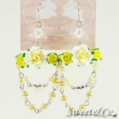 Sweet Yellow Candy Chandelier Rose Earrings