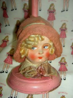 Adorable C 1920s German Boudoir Doll Head Hat Stand with Lovely Felt Clothing | eBay