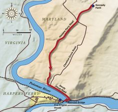 Map of John Brown's Raid on Harpers Ferry