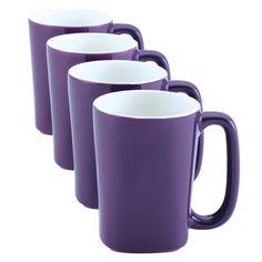 Rachael Ray Round Square Mugs, Set of Purple Purple Love, All Things Purple, Purple Rain, Shades Of Purple, Deep Purple, Coffee Mug Sets, Mugs Set, Rachael Ray Dinnerware, Purple Kitchen