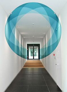 Graphic Design Trends 2016 Blue Hallway Mural Related posts:Simple but creative portfolio website design for graphic designerThe kinetic bund finance centre in ShangaiPlayful Lettering Alterations Transform Ordinary Words into Clever Illustrations Interior Exterior, Interior Architecture, Interior Office, Futuristic Architecture, Modern Interior, Inspiration Wand, Flur Design, Design Design, Graphic Design Trends