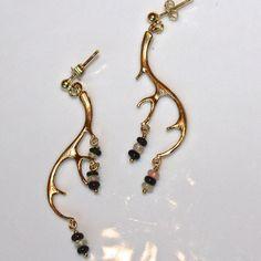 mostlymila  Antler Earrings Black White Ethiopian Opal Gold Vermeil Dangle Earrings Handmade Gemstone Jewelry