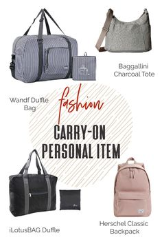 Always check your airline's website for their rules before traveling. Your carry-on personal item is small but can accomplish many things! While your main carryon luggage should be able to fit in the overhead bin, your smaller personal item should be able to fit underneath the seat in front of you. #TravelFashionGirl #TravelFashion #PackingTips #howtochoose #personalitem #carryon Packing Light, Packing Tips, Travel Luggage, Herschel, Baggage, Travel Accessories, Travel Style, Carry On, Gym Bag