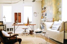 *warm color wall (exterior brick wall color)** The layers of neutrals and off-whites in this space come together to create a scene that's at once dynamic and calm.