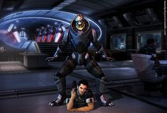 Oppan Garrus Style! Oh goodness look at Kaidan XD This. Everything about this!!!