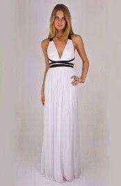 White V-Neck Chiffon Empire Waist Prom Dress Black Contrasting Straps White Bridesmaid Dresses, Elegant Prom Dresses, Black Prom Dresses, Dance Dresses, Formal Dresses, Dress Black, Affordable Evening Gowns, Sexy Evening Dress, White Chiffon