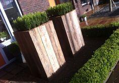 Zelf gemaakte grote bloembakken van steigerhout..!