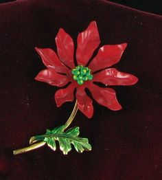 Christmas Brooch - Red Green Yellow Enamel Poinsettia Xmas Pin from Finishing Touch Vintage Jewelry on Ruby Lane