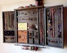 Large earrings closet with shelf. Wooden earrings storage - new season bijouterie Earring Storage, Jewellery Storage, Jewelry Organization, Jewelry Cabinet, Jewelry Armoire, Jewelry Wall, Wooden Jewelry, Vintage Regal, Wooden Rack