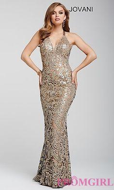V-Neck Lace Open Back Jovani Long Prom Dress at PromGirl.com