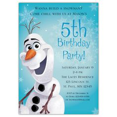 Olaf, the lovable snowman, is beaming on the front of these personalized birthday party invitations. The back panel features snowflakes and other characters from the moving, including Sven the reindeer. This design is perfect for your Frozen-themed party. All orders assembled with white envelopes.