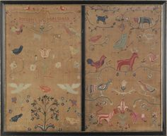 """Pair of crewelwork panels, dated 1734, wrought by Margaret Marshall, decorated with tulips, birds, a stag, an owl, etc., frame - 28"""" x 34"""".  Pook & Pook"""