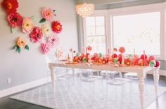 Bridal shower table: http://www.stylemepretty.com/2014/02/12/diy-flower-wall-bridesmaids-party/ | Photography: Cameron Ingalls - http://cameroningalls.com/