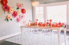 Bridal shower decor - love the huge paper flowers!