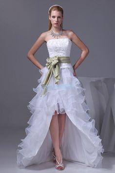 Strapless Hi-Lo Sheath White Organza Evening Dress With Sash(ZJ5563)