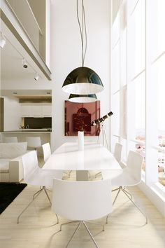 good use of colours, allow cross ventilation Rustic Dining Room Sets, White Dining Chairs, Dining Room Design, Dining Set, Dining Table, Interior Exterior, Modern Interior, Interior Architecture, Interior Design