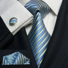 Landisun 80G Blue Green Stripes Mens Silk Tie Set: Tie+Hanky+Cufflinks Exclusive