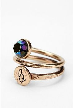 Circling initial & stone ring. brassy wrapped ring with initial stamped $14 #jewelry #gift #holiday #christmas #personalized #ring #gold #for her #initials #adjustable #stylish #chic