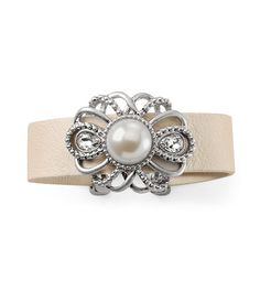 Florence Bracelet -0886Victorian feel to this ivory leather bracelet of intricate floral pearl resin and clear cut crystals. 7""