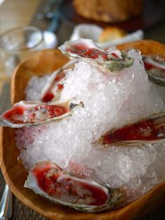 Caper's Inlet Blade Oysters on the Half Shell, SC Strawberry Mignonette, Jalapeno, Citrus