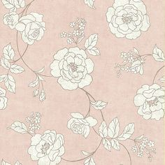 62-65842 Pink Outline Rose - Madelaine - Kenneth James Wallpaper // girly wallpaper accent or framed
