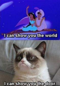 Grumpy Cat as Disney Princesses don't mess with me! love me some grumpy cat Grumpy Cat Quotes, Funny Grumpy Cat Memes, Cat Jokes, Funny Relatable Memes, Funny Cats, Grumpy Kitty, Grumpy Cat Disney, Grumpy Cat Frozen, Angry Cat Memes