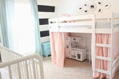 Great way to preserve play space....love the idea of bunk beds in girls room