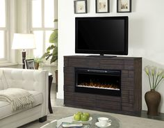 Markus electric fireplace media console Electric Fireplaces, Real Style, Baseboards, Console, Home, Ad Home, Homes, Baseboard, Roman Consul