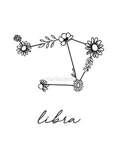 'Libra Zodiac Wildflower Constellation' Sticker by aterkaderk - - . - 'Libra Zodiac Wildflower Constellation' Sticker by aterkaderk – – - Libra Tattoo, Libra Zodiac Tattoos, Libra Constellation Tattoo, Small Forearm Tattoos, Wrist Tattoos For Women, Small Tattoos, Cute Tattoos For Women, Line Tattoos, Word Tattoos