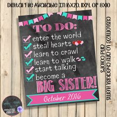 Becoming a Big Sister To Do List Pregnancy by SquishyDesignsbyMe