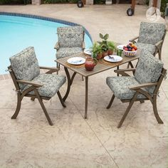 I love these stunning damask printed neutral patio cushions! Patio Furniture Cushions, Outdoor Dining Chair Cushions, Patio Cushions, Patio Dining, Patio Chairs, Outdoor Furniture Sets, Dining Chairs, Outdoor Decor, Bar Stool Chairs