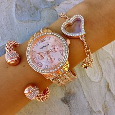 Rosey Swag Stack Pink Jewelry, Cute Jewelry, Jewelery, Jewelry Accessories, Fashion Accessories, Jewelry Design, Fashion Jewelry, Ring Watch, Fashion Watches