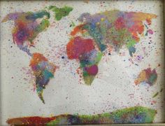 World Map  Splatter by goldengatebridge on Etsy, $30.00  Love this!