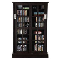 Atlantic Furniture Windowpane Cabinet Media Storage - Espresso