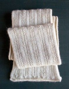 Jasmine Scarf~Begin in Stockinette Stitch CO 74 sts. Row 1 (ws): Purl. Row 2: Knit. Repeat Rows 1 and 2 two more times. Continue in Stitch Pattern Row 1 (wrong side): P6, [p1 wrapping yarn twice, p8, p1 wrapping yarn twice, P3] 5 times, purl to end. [10 stitches increased]
