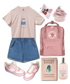 """""""Pink aesthetic"""" by wannabea ❤️ liked on Polyvore featuring NIKE and Moyana Corigan"""