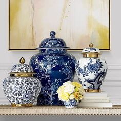 You cant stop at just one! Shop spring ginger jars through the link in profil Kitchen Blue Rooms, Blue Bedroom, Blue And White Vase, Blue Pottery, Chinoiserie Chic, Decorated Jars, Blue China, Ginger Jars, Instagram Shop