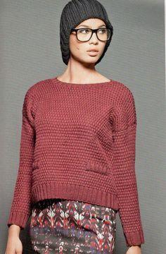 Укороченный пуловер спицами террактового цвета - Портал рукоделия и моды