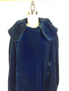 This amazing Vintage 1930's Blue Velvet Opera Coat is made of silk velvet!
