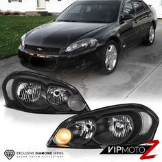 Clear Reflector Series 2006 2017 Chevy Impala Black Headlights Headlamps Pair