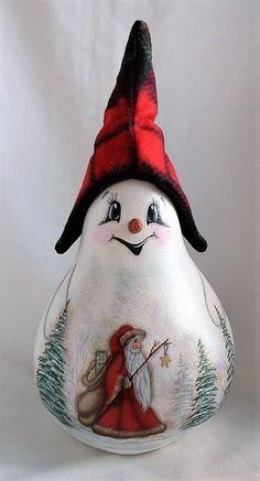 Snowman Gourd with Santa, and Winter Scene - Hand Painted Gourd Hand Painted Gourds, Christmas Crafts, Christmas Ornaments, Gourd Art, Winter Scenes, Snowman, Santa, Clay, Holiday Decor