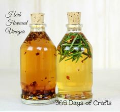 The herb flavored vinegar recipe is easy to make and is a great gift to give. If you have a foodie in your family they will love the herb infused vinegars. Flavored Oils, Infused Oils, Homemade Food Gifts, Recycled Bottles, Jar Gifts, Fermented Foods, Kraut, Bottle Crafts, Herbalism