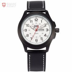Shark Army Calendar Display White Dial Leather Strap Relogio Analog Sport Military Montre Homme Wrist Men Quartz Watches/SAW121