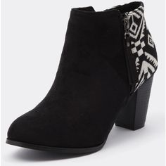 Ko Fashion Bantam Black/Aztec (225 DKK) ❤ liked on Polyvore featuring shoes, boots, ankle booties, black bootie, high heel boots, black high heel ankle booties, high heel bootie and faux-fur boots